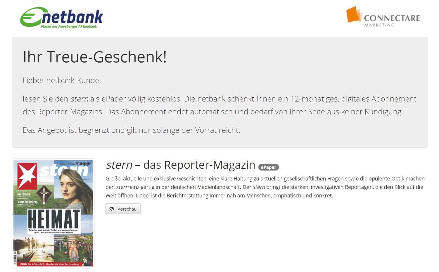 Kostenloses Stern Digital 12 Monats Abo im Online Kiosk von Netbank