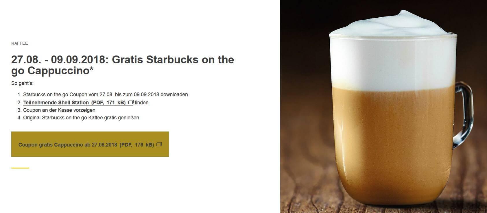 SHELL Starbucks Cappuccino to Go gratis