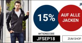 15% Rabatt auf alle Jacken Dank Gutschein bei Jeans-Fritz.de